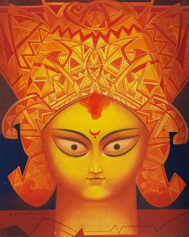 """Atin Basak Portrait Painting - Durga, Indian Goddess, Tempera on Board, Red, Yellow by Indian Artist """"In Stock"""""""