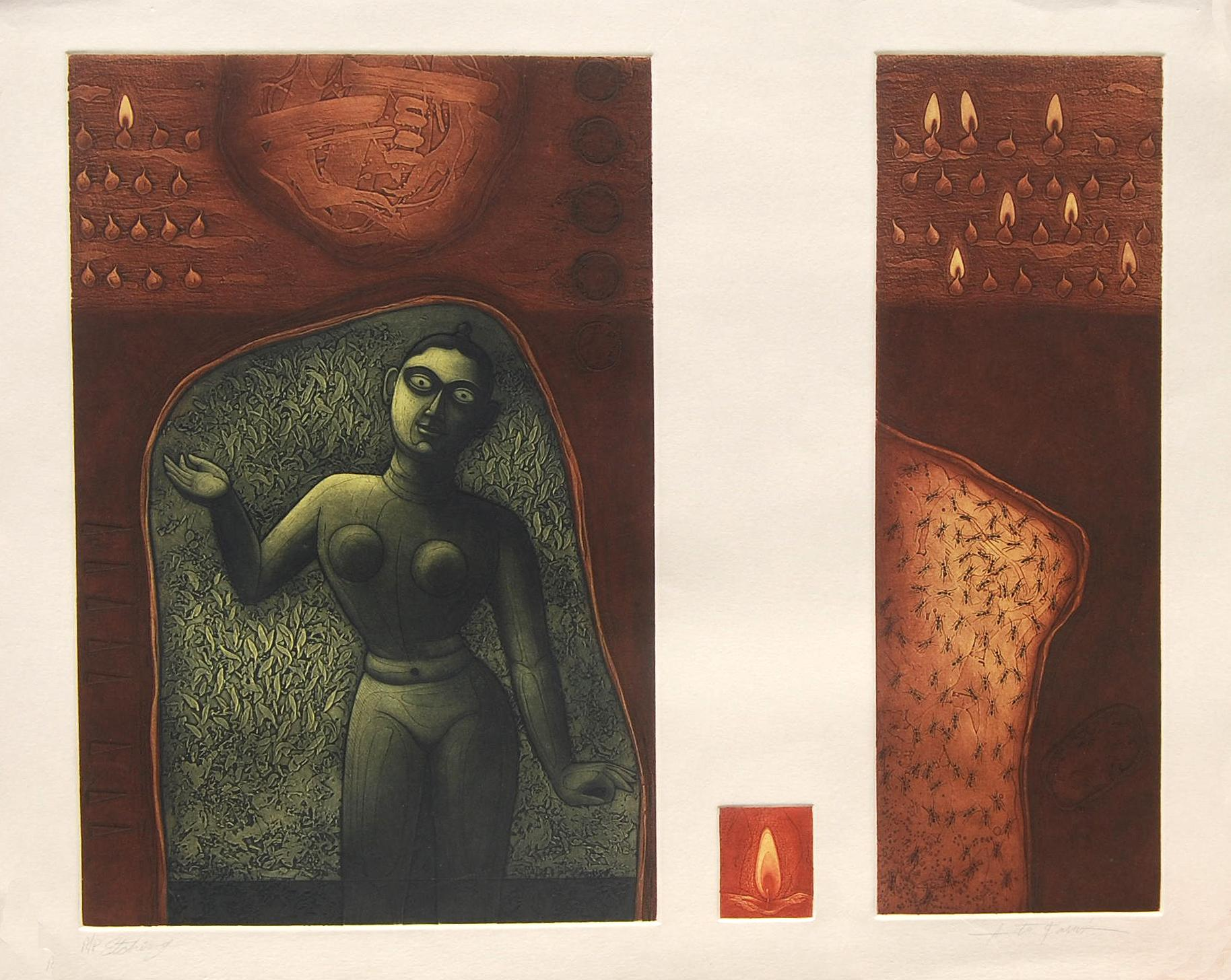 """Etching on Paper, Green, Brown, Red colors by Indian Artist """"In Stock"""""""