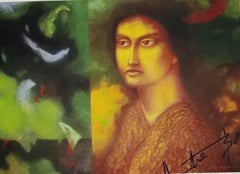 "Woman, Face, Tempera on Board, Green, Brown, Yellow by Indian Artist ""In Stock"""