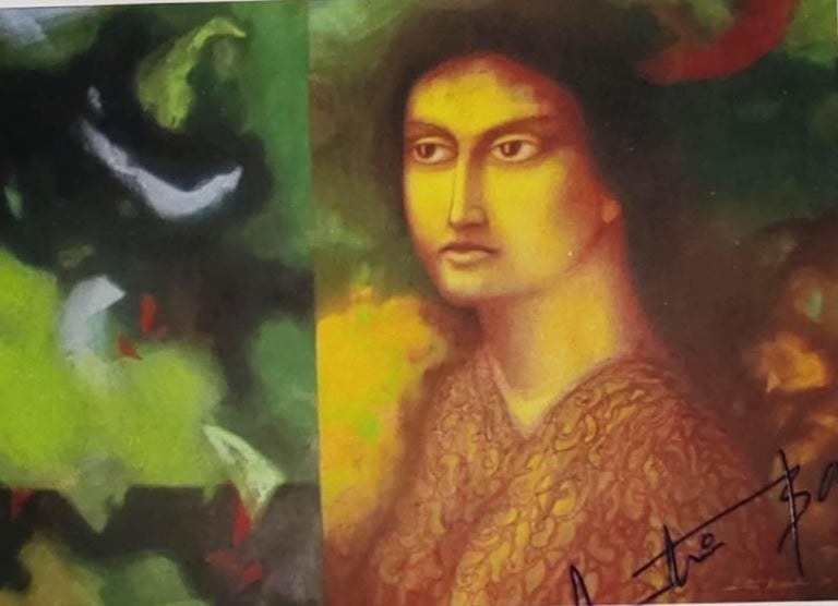 """Atin Basak Interior Painting - Woman, Face, Tempera on Board, Green, Brown, Yellow by Indian Artist """"In Stock"""""""
