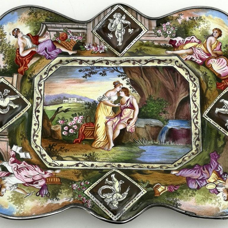 Austrian Atique Viennese Enamel & Silver Tray / Dish Austria circa 1880 Pin / Trinket For Sale