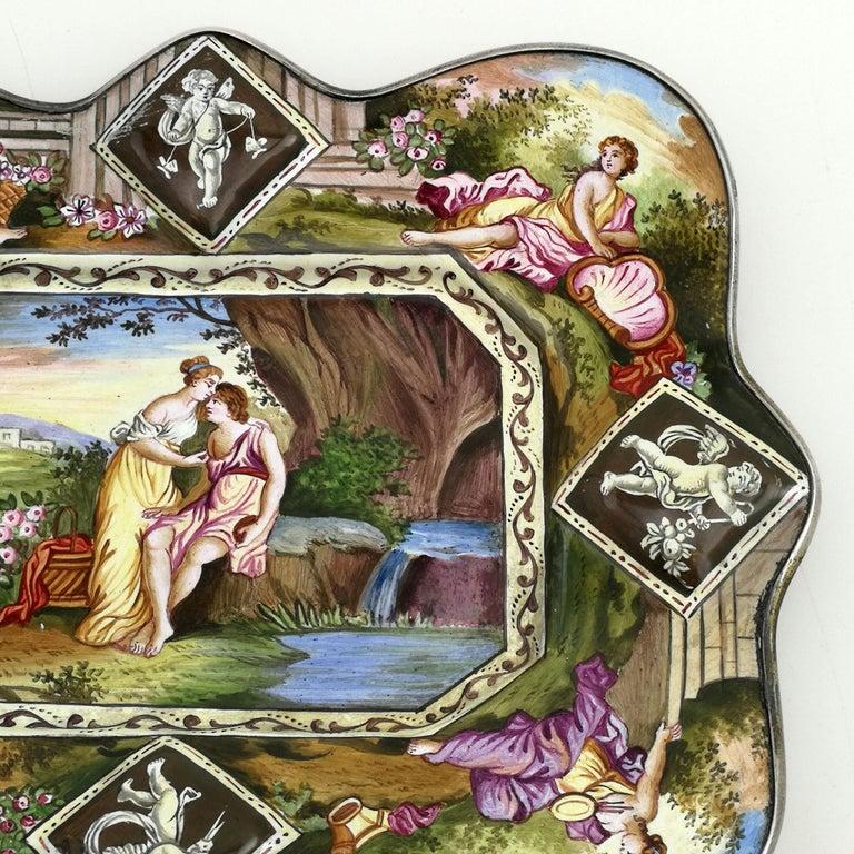 Atique Viennese Enamel & Silver Tray / Dish Austria circa 1880 Pin / Trinket In Good Condition For Sale In London, GB