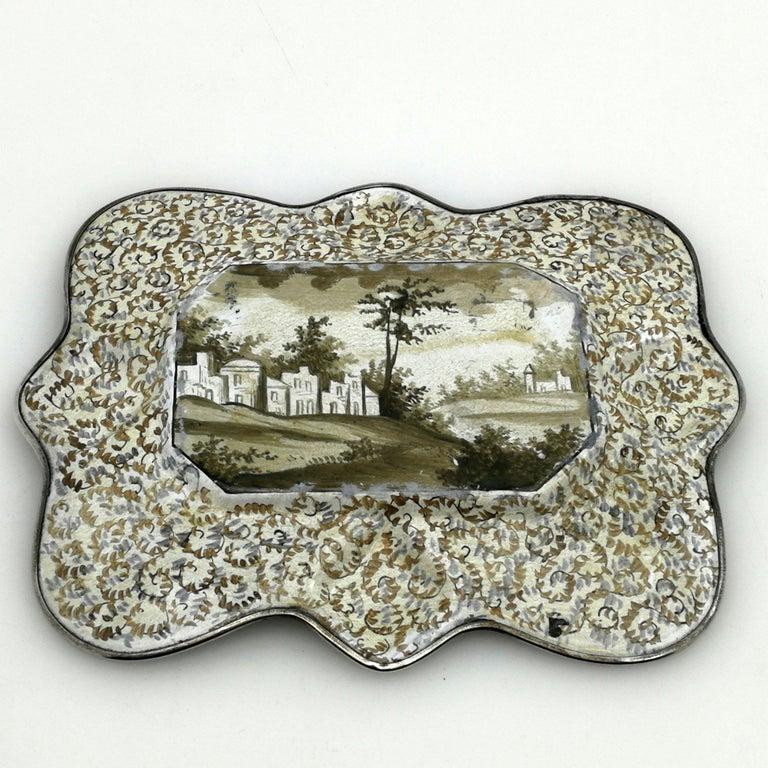 19th Century Atique Viennese Enamel & Silver Tray / Dish Austria circa 1880 Pin / Trinket For Sale