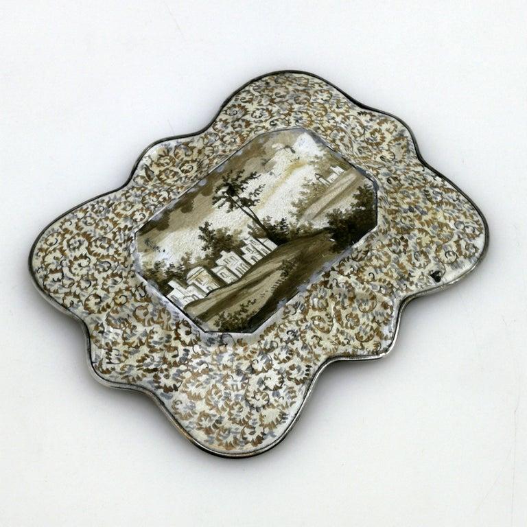 Atique Viennese Enamel & Silver Tray / Dish Austria circa 1880 Pin / Trinket For Sale 1