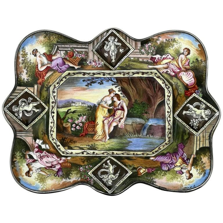 Atique Viennese Enamel & Silver Tray / Dish Austria circa 1880 Pin / Trinket For Sale