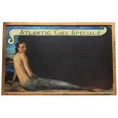Atlantic Cafe Mermaid Chalkboard, Nantucket Hand-Painted by Thomas Deininger
