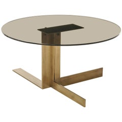 Atlantide, Contemporary Round Coffee Table in Aged Brass with Glass Top