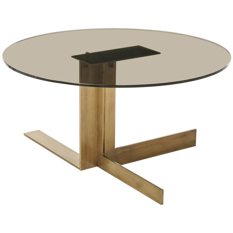 Incredible Atlantide Contemporary Round Coffee Table In Aged Brass With Glass Top Bralicious Painted Fabric Chair Ideas Braliciousco