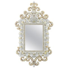 Atlantis, Contemporary Mirror Handcrafted with Natural Shell Ornaments