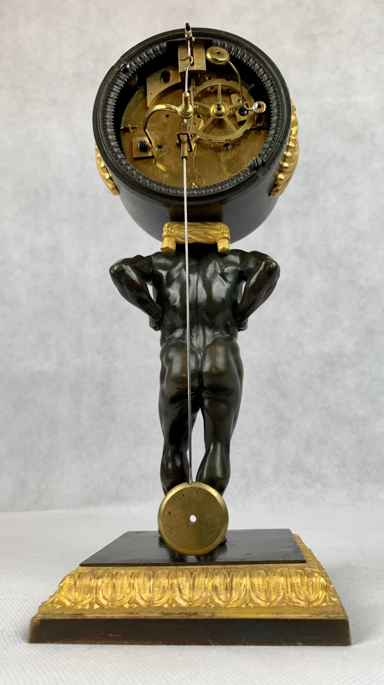 Period French Empire Bronze Doré and Patinated Clock Depicting Atlas For Sale 6