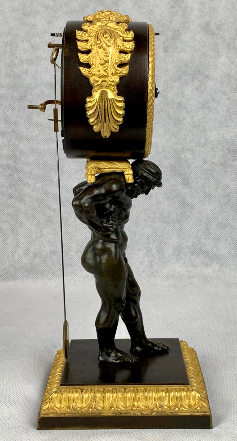 Period French Empire Bronze Doré and Patinated Clock Depicting Atlas For Sale 8