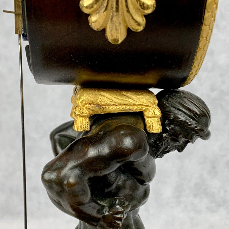 Period French Empire Bronze Doré and Patinated Clock Depicting Atlas For Sale 12