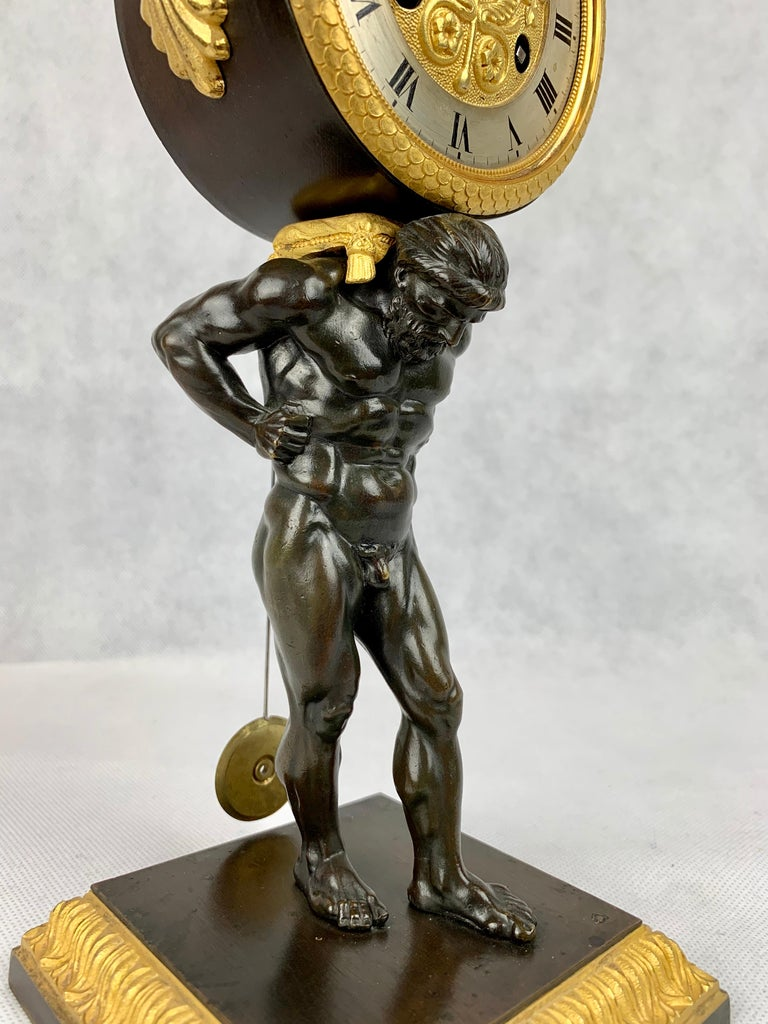 Hand-Crafted  Period French Empire Bronze Doré and Patinated Clock Depicting Atlas For Sale