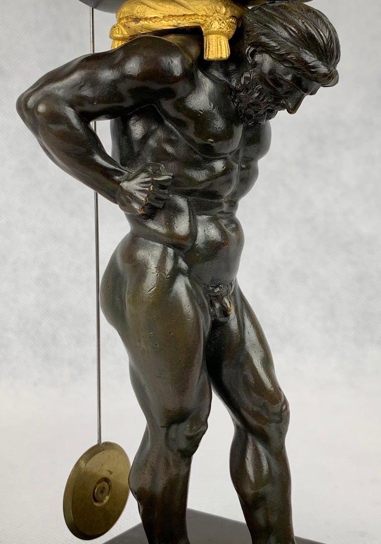 19th Century  Period French Empire Bronze Doré and Patinated Clock Depicting Atlas For Sale