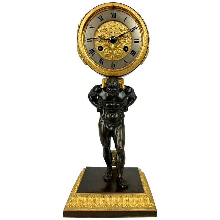 Period French Empire Bronze Doré and Patinated Clock Depicting Atlas For Sale