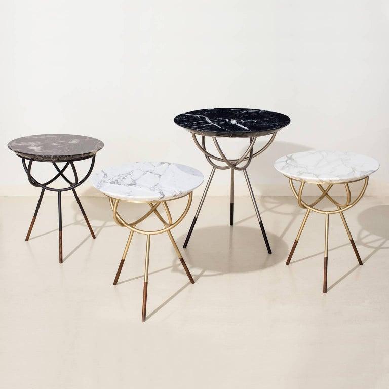 Modern Atlas Brushed Brass End Table by Avram Rusu Studio For Sale
