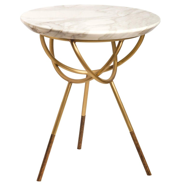 Atlas Brushed Brass End Table by Avram Rusu Studio For Sale