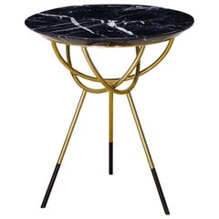 Atlas Brushed Brass Side Table with Black Marble Top by Avram Rusu Studio