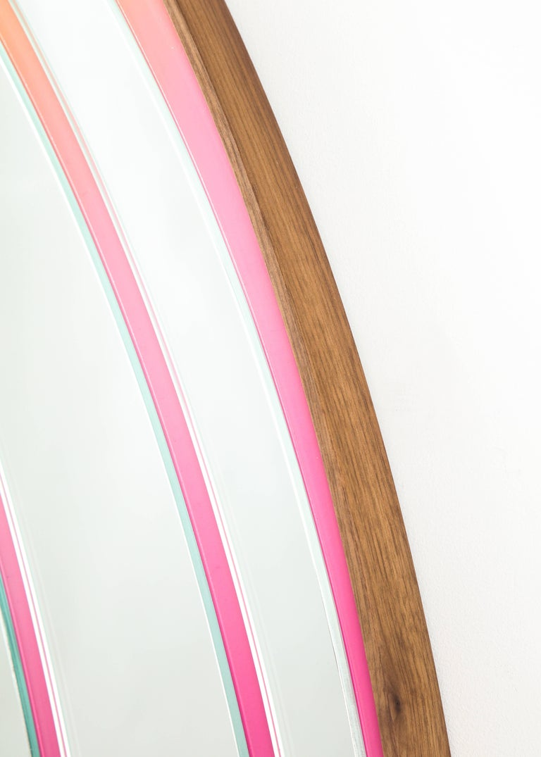 Atlas Mirror by Bower & Seth Rogen, Mirrored Glass, Enamel Paint, and Walnut 3