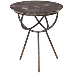 Atlas Oil-Rubbed Bronze End Table with Black Marble Top by Avram Rusu Studio