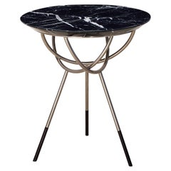 Atlas Satin Nickel End Table with Black Marble Top by Avram Rusu Studio