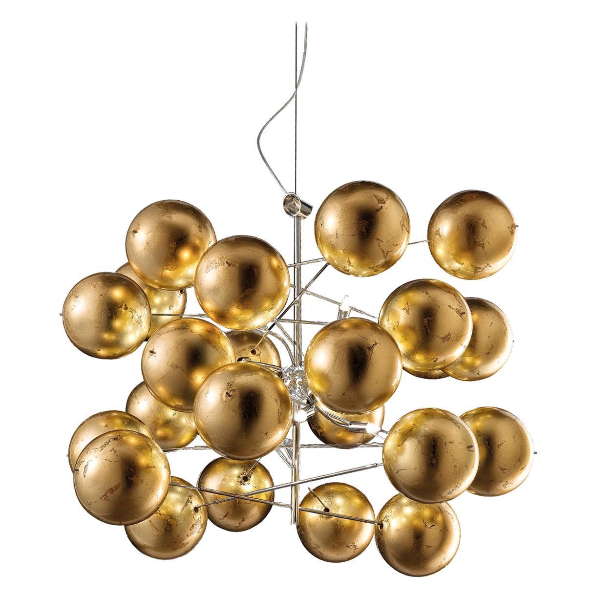 Atom Ø 80 Satin Gold Chandelier
