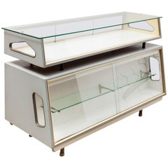 Atomic 1950s Dutch Design Glass and Wood Display Cabinet Vitrine, Shop Counter