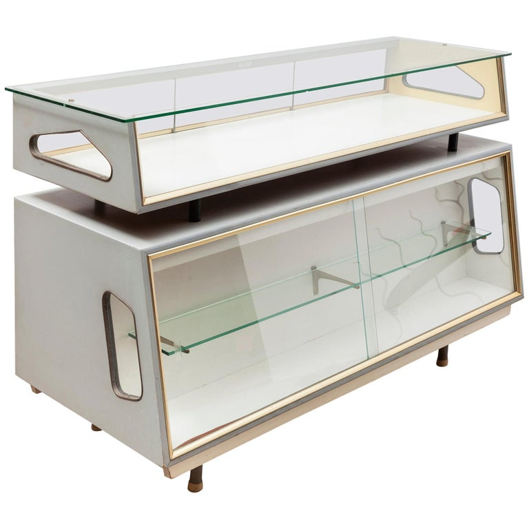 Atomic 1950s Dutch Design Glass and Wood Display Cabinet Vitrine, Shop Counter For Sale