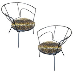 Atomic Age Iron Wire Side Armchair w/ Leopard Print Seat, Pair