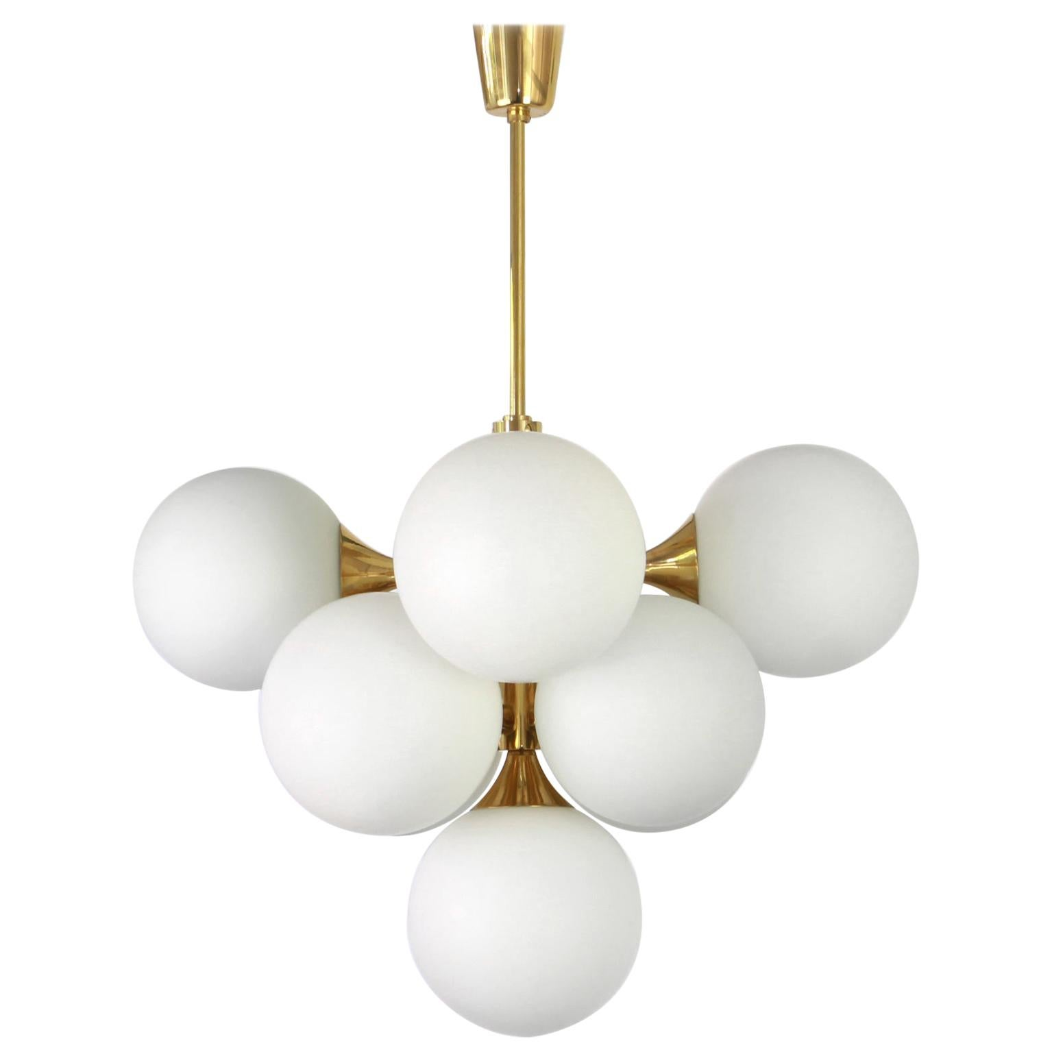 Atomic Brass Chandelier by Kaiser, Germany, 1960s