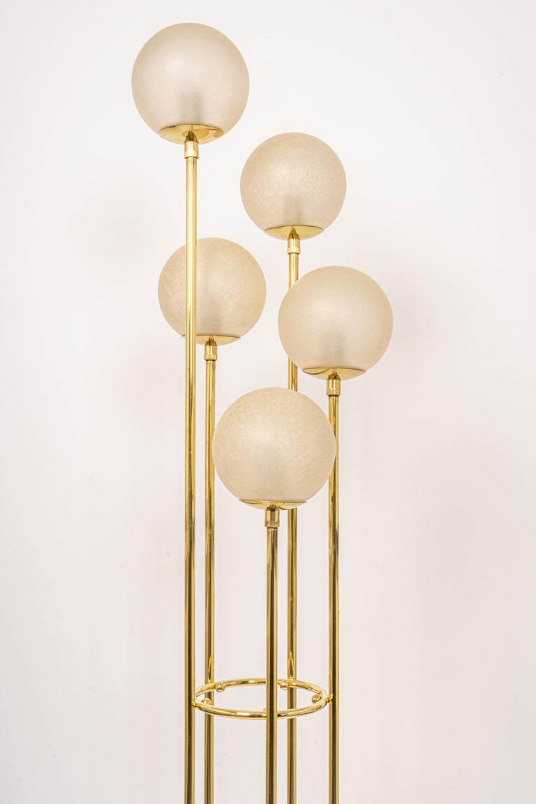 Mid-Century Modern Atomic Brass Floor Lamp by Kaiser, Germany, 1960s For Sale