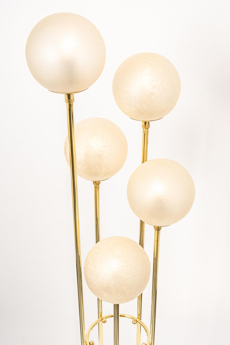 Atomic Brass Floor Lamp by Kaiser, Germany, 1960s For Sale 1