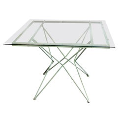 Italian Mid Century Modern Atomic Design Green Paint Patio Table