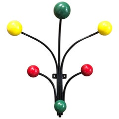 Atomic French Style Coat Rack Hanger with Colored Accents
