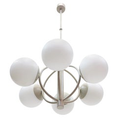 1960 Germany Kaiser Molecular Satellite Chandelier With 6 White Glass Globes