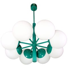 Kaiser Glass Globes Chandelier Germany, 1960s