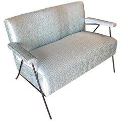 Atomic Midcentury Loveseat Sofa with Iron Legs
