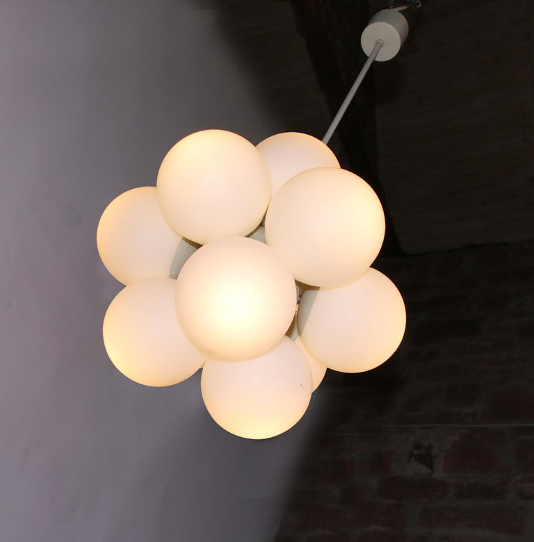 Mid-Century Modern Atomic Molecular 12 Glass Globes Chandelier by Kaiser, Germany, 1960s For Sale
