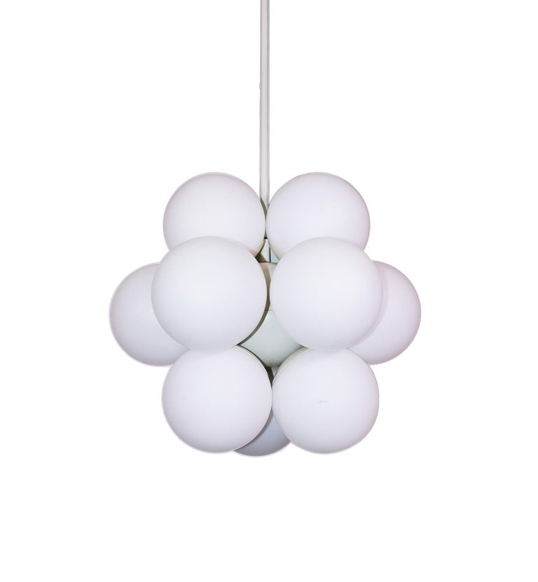Atomic Molecular 12 Glass Globes Chandelier by Kaiser, Germany, 1960s For Sale 1