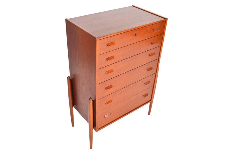 Danish Atomic Six-Drawer Highboy Dresser in Teak For Sale