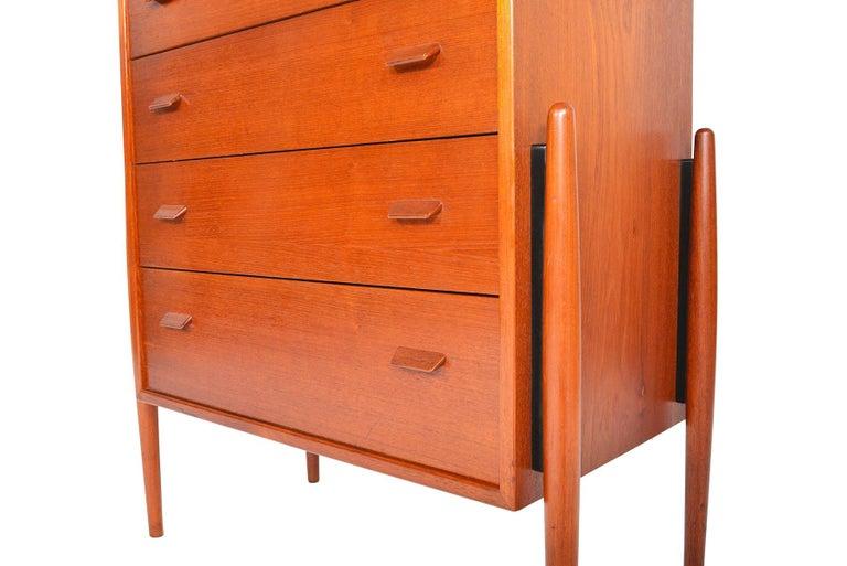 Atomic Six-Drawer Highboy Dresser in Teak For Sale 3