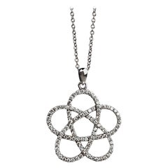 Atomic Spiral Diamond Pendant Necklace in White Gold