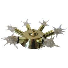 Atomic Starburst Brass Ceiling Fixture