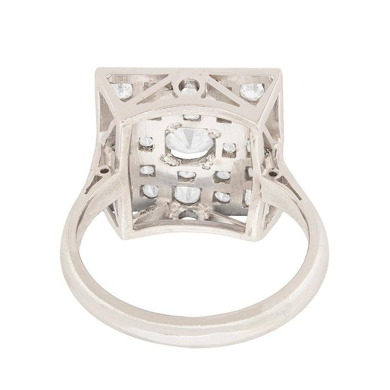 Women's or Men's Art Deco Square Diamond Cluster Ring, circa 1930s For Sale