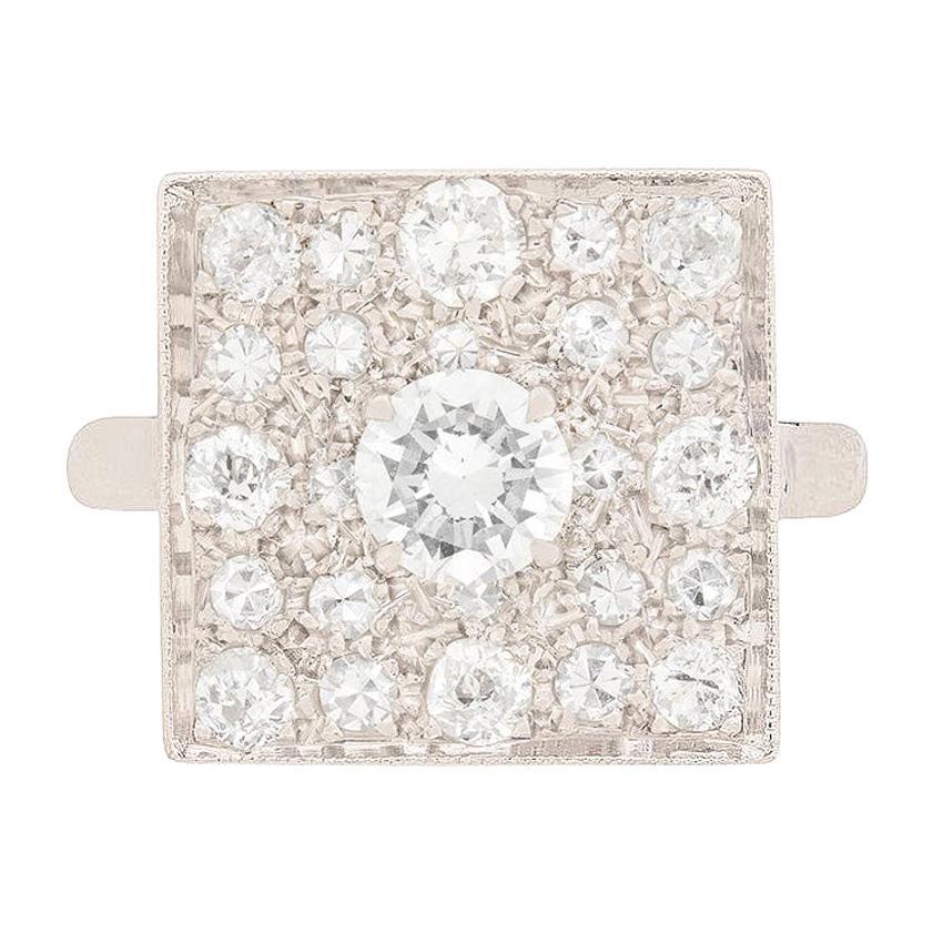 Art Deco Square Diamond Cluster Ring, circa 1930s