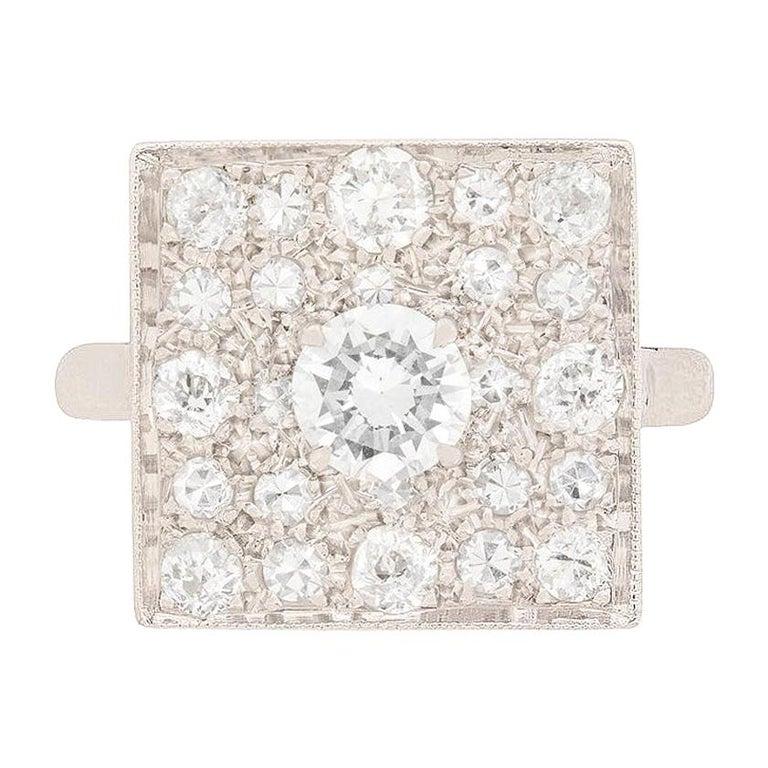 Art Deco Square Diamond Cluster Ring, circa 1930s For Sale