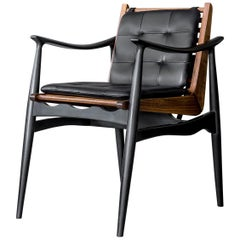ATRA Walnut and Leather Dining Arm Chair by ATRA