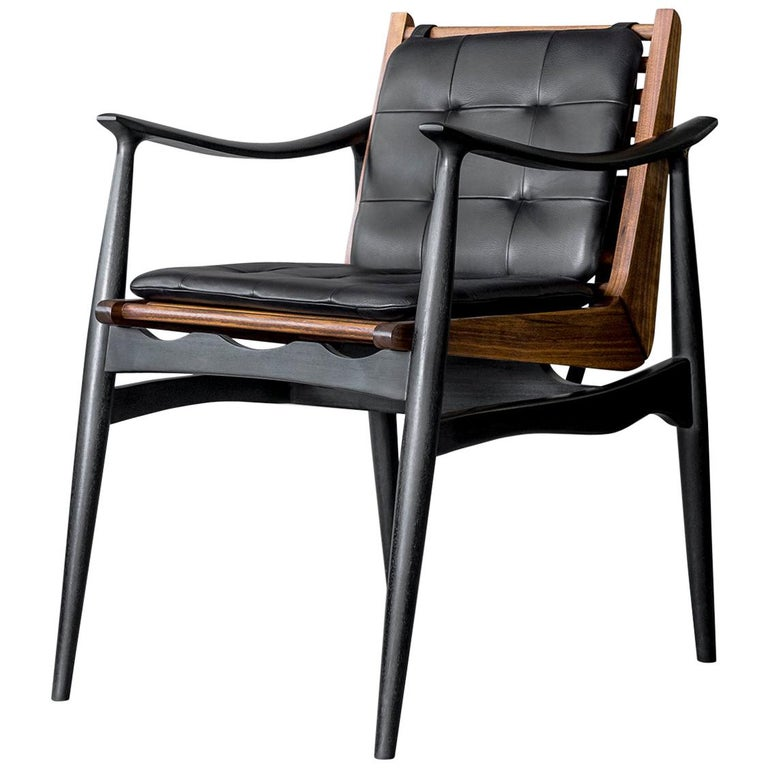 ATRA Walnut And Leather Dining Arm Chair By ATRA For Sale