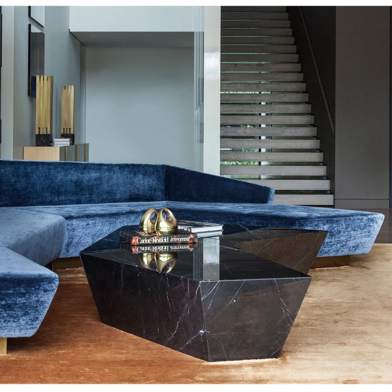 """Coffee table in solid marble, model """"Atreus"""" consisting of three modular pieces that form a polyhedron Handcrafted in Athens, Greece."""