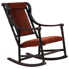 Attributed to Hunzinger American Victorian Red Velvet Rocking Chair